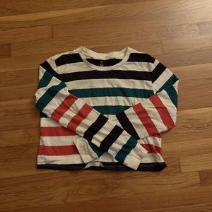 Striped and cropped long sleeve shirt